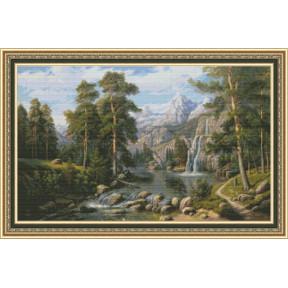 Набор для вышивки крестом Юнона 1101 Озеро в горах фото