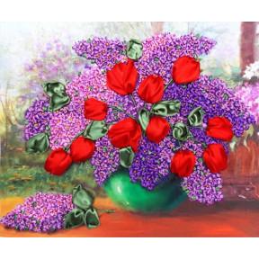 """НЛ-3025 Набор для вышивания лентами Марічка """"Сирень и тюльпаны"""""""