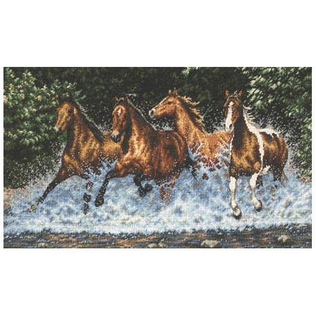Набор для вышивки крестом Dimensions 35214 Galloping Horses фото