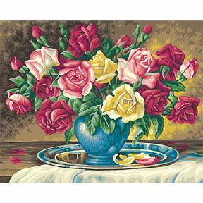 Набор для рисования по номерам Идейка  G244 Красно-желтые розы