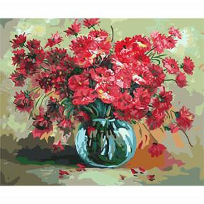 Набор для рисования по номерам Идейка КН2014 Красные цветы в стеклянной вазе
