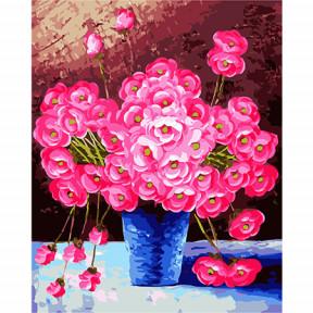 Набор для рисования по номерам Идейка  G328 Розовые цветы в синей вазе