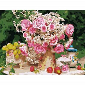 Набор для рисования по номерам Идейка  MMC008 Большой букет из чайных роз