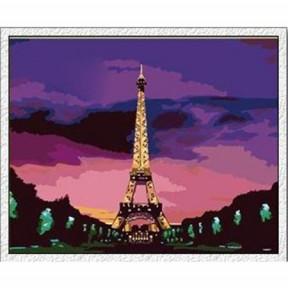 Набор для рисования по номерам Идейка  G080 Эйфелева башня в сумерках