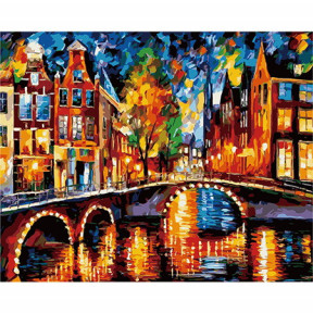 Набор для рисования по номерам Идейка КН1013 Огни Амстердама