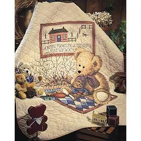 Набор для вышивания детского одеяла 3185 Old Teddies Quilt фото