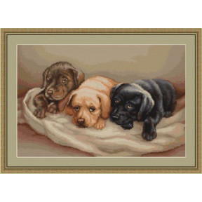 Набор для вышивки крестом Luca-S  Три собачки B434