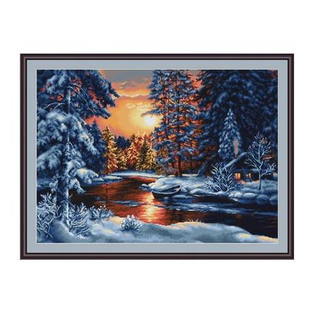 Набор для вышивки крестом Luca-S Зимний пейзаж B477 фото