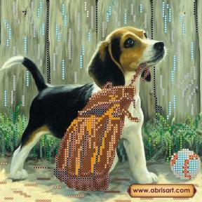 Схема для вышивания бисером Абрис Арт АС-462 Игривый щенок