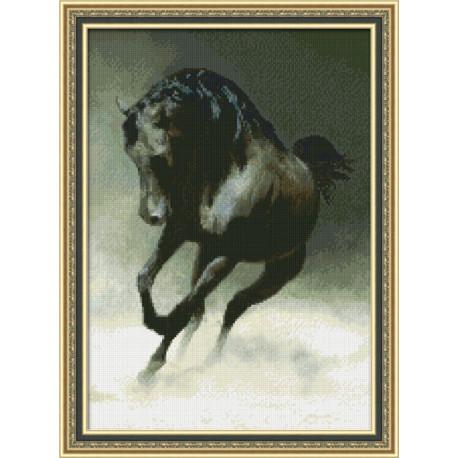 Набор для вышивки крестом Юнона 0113 Черный конь фото