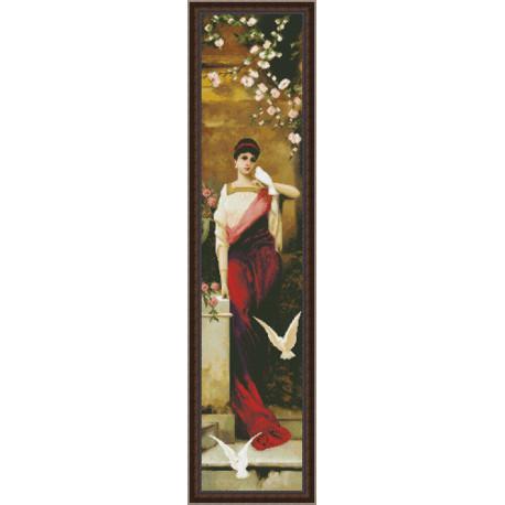 Набор для вышивки крестом Юнона 0301 Женщина с голубями фото