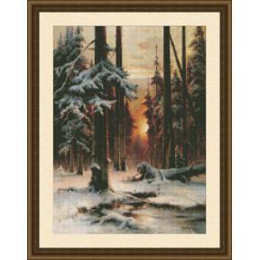 Набор для вышивки крестом Юнона 0207 Закат в зимнем лесу
