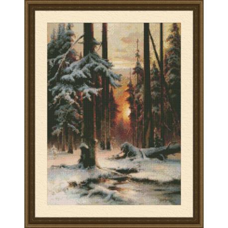 Набор для вышивки крестом Юнона 0207 Закат в зимнем лесу фото