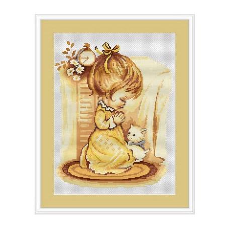 Набор для вышивки крестом Luca-S Мольба девочки B270 фото