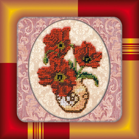 Набор для вышивания бисером Абрис Арт АМ-002 Ваза с маками фото