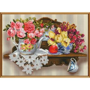 Набор для вышивания бисером и крестом Нова Слобода ННД-3077 Цветочный романс