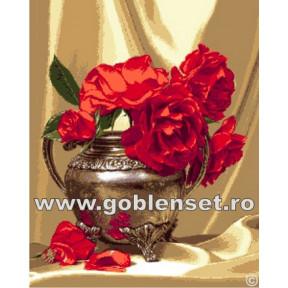 Набор для вышивания гобелен Goblenset  G1038 Ваза с красными розами