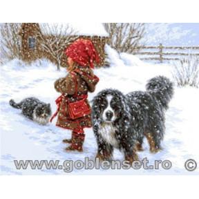 Набор для вышивания гобелен Goblenset  G994 Зимняя радость