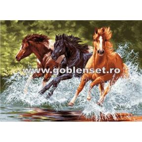 Набор для вышивания гобелен Goblenset  G891 Лошади в галопе