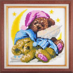Набор для рисования камнями алмазная живопись Dream Art Спящие мишки (круглые камни, полная) 20002D