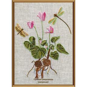 Набор для вышивания нитками Нова Слобода ЕМ-4023 Ботаника. Цикламен пурпурный