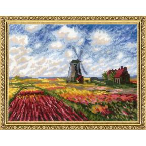 """Набор для вышивки крестом Риолис 1643 """"Поле с тюльпанами"""" по мотивам картины К. Моне"""