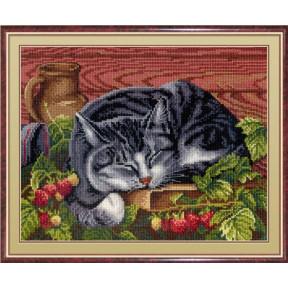 Набор для вышивки крестом МП Студия НВ-268 Спящий котик