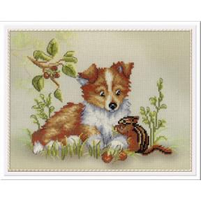 Набор для вышивки крестом МП Студия РК-327 Собачка с бурундуком