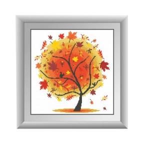 Набор для рисования камнями алмазная живопись Dream Art Осеннее дерево (квадратные, полная) 30314D