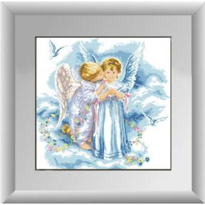 Набор для рисования камнями алмазная живопись Dream Art Поцелуй ангелов (квадратные, полная) 30225D