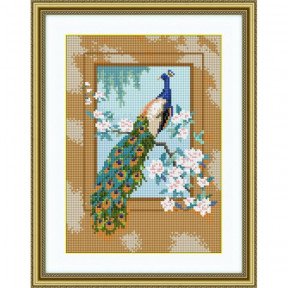 Набор для рисования камнями алмазная живопись Dream Art Павлин (квадратные, полная) 30327D