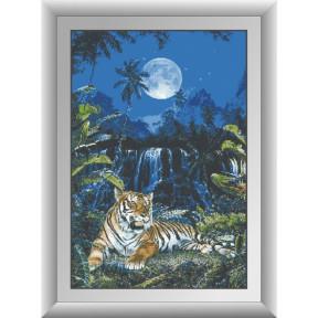 Набор для рисования камнями алмазная живопись Dream Art Лунный тигр (квадратные, полная) 30319D