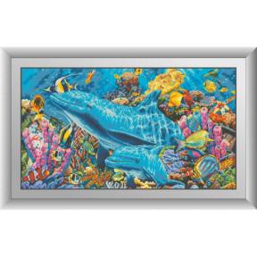 Набор для рисования камнями алмазная живопись Dream Art Дельфины в океане (квадратные, полная) 30320D