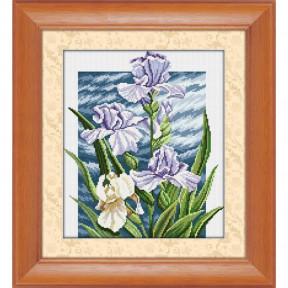 Набор для рисования камнями алмазная живопись Dream Art Королевские ирисы (квадратные, полная) 30372D