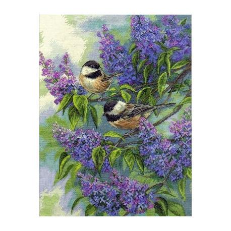 Набор для вышивки Dimensions 35258 Chickadees and Lilacs фото