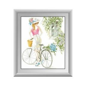 Набор для рисования камнями алмазная живопись Dream Art Девушка с велосипедом (квадратные, полная) 30456D