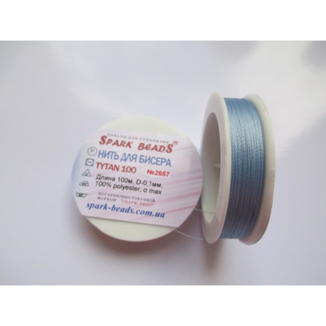 Бисерная нить TYTAN 2657 голубая 100м фото