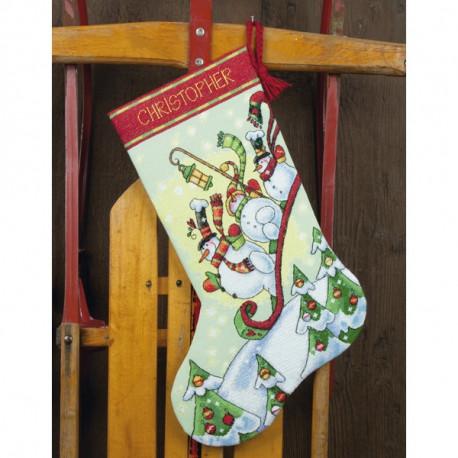 Набор для вышивания Dimensions 70-08853 Sledding Snowmen фото