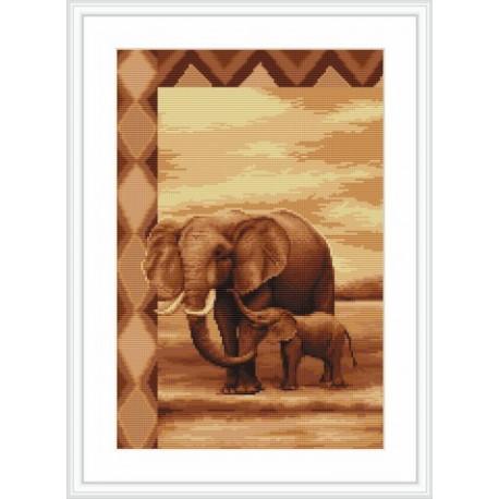 Набор для вышивки крестом Luca-S Слоны B2226 фото