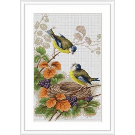 Набор для вышивки крестом Luca-S Птички у гнезда B215 фото