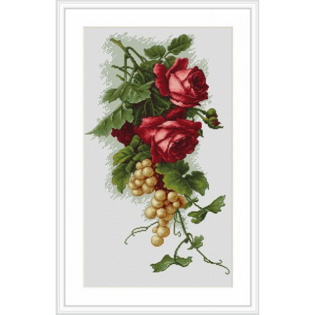 Набор для вышивки Luca-S Красные розы с виноградом B2229 фото