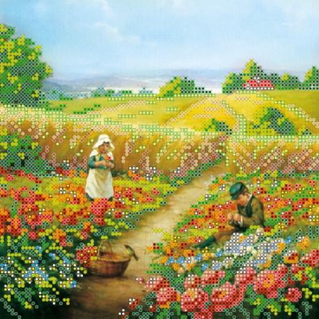 Схема для вышивания бисером Абрис Арт АС-063 На лужайке фото