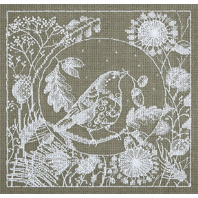 Набор для вышивки крестом Panna ПТ-1865 Белое кружево. Птица