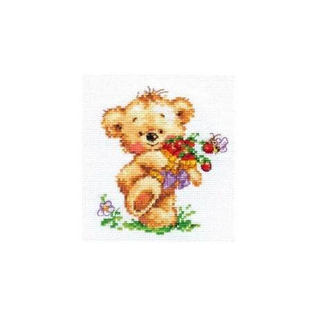 Набор для вышивки крестом Алиса 0-71 Мишутка-сластена фото