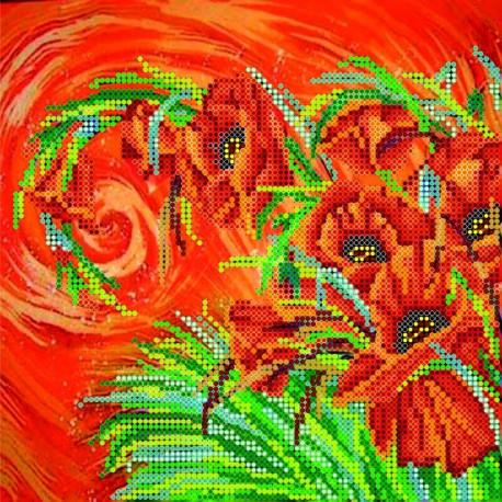 Схема для вышивания бисером Абрис Арт АС-033 Маковый шлейф фото