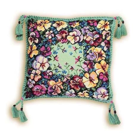 Набор для вышивки крестом Риолис 1234 Подушка Анютки фото