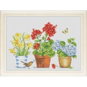 Набор для вышивания крестиком OLanTa VN-075 Цветочное трио