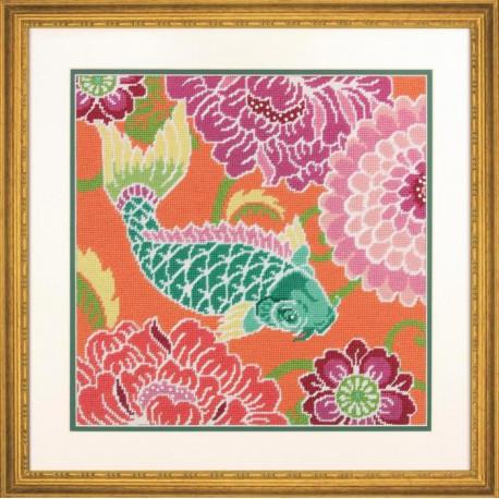 Набор для вышивания Dimensions 71-20076 Koi with flowers фото