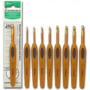 Крючок для вязания алюминиевый с мягкой ручкой 1008-H5.0 Clover (Япония)