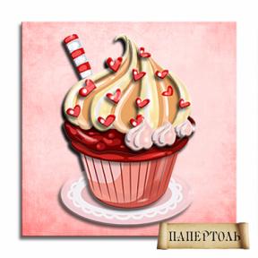 """Картина из бумаги Папертоль РТ150057 """"Кексик с сердечками"""""""